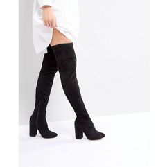 ASOS KATCHER WIDE LEG Heeled Over The Knee Boots - Black