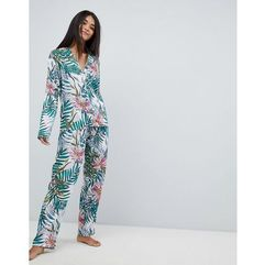 Asos design botanical 100% modal traditional shirt & wide leg pyjama set - multi