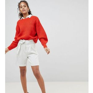 Y.A.S Tall Striped High Waisted Shorts - White, kolor biały