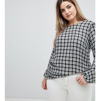 ruffle detail gingham blouse - black, Zizzi