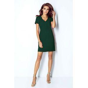 64fdd4cea0 Zielona sukienka trapezowa mini z dekoltem v